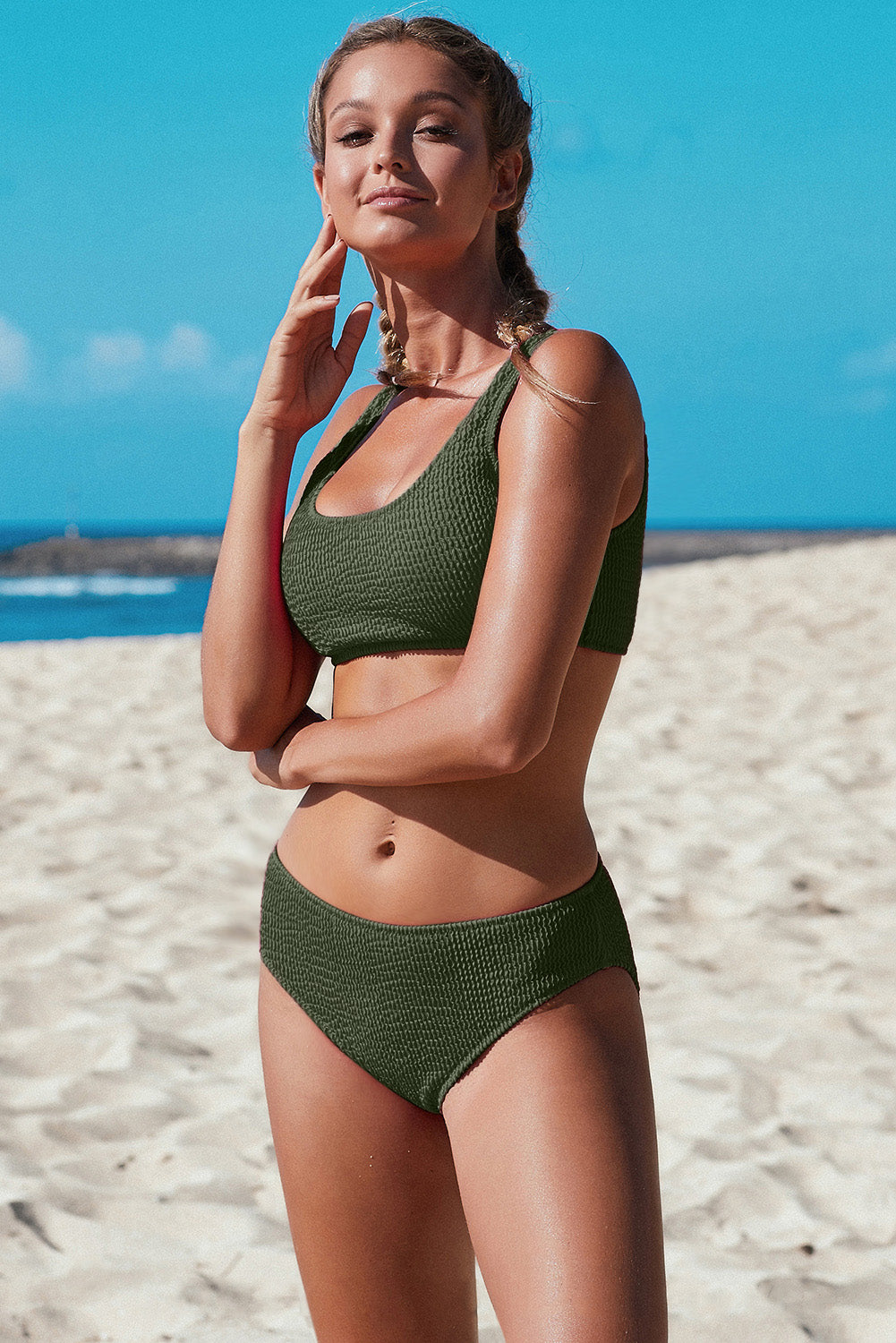 Green Scoop Neck Crop Top Mid Rise Bottom Two-piece Swimsuit Bikinis Discount Designer Fashion Clothes Shoes Bags Women Men Kids Children Black Owned Business