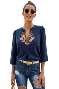 Blue Boho Embroidered V Neck 3/4 Sleeve Casual Blouse Blouses & Shirts Discount Designer Fashion Clothes Shoes Bags Women Men Kids Children Black Owned Business