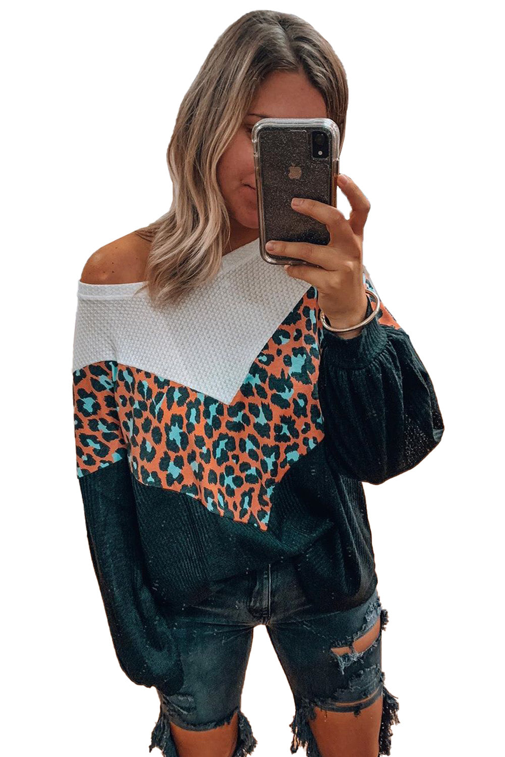 Black Colorblock Leopard Patchwork Knit Top Long Sleeve Tops Discount Designer Fashion Clothes Shoes Bags Women Men Kids Children Black Owned Business
