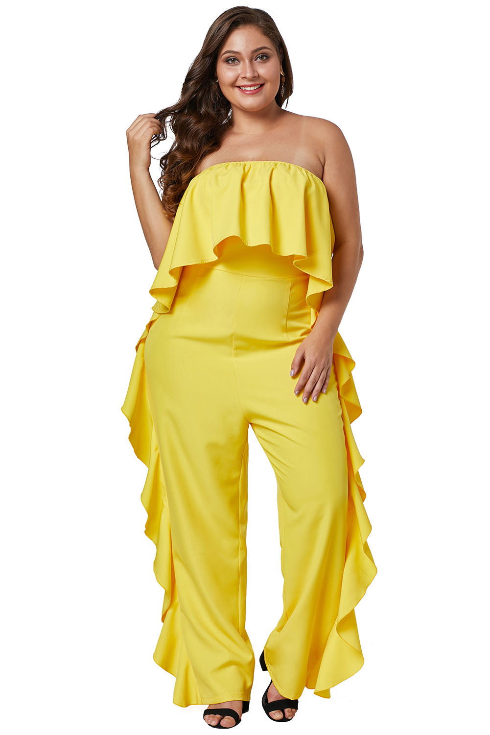 Yellow Prime Dreams Plus Size Strapless Ruffle Jumpsuit Plus Size Discount Designer Fashion Clothes Shoes Bags Women Men Kids Children Black Owned Business