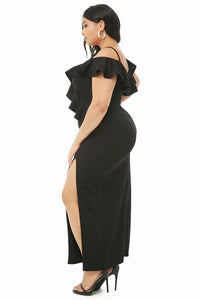 Black Plus Size Open Shoulder Ruffle Dress Plus Size Dresses Discount Designer Fashion Clothes Shoes Bags Women Men Kids Children Black Owned Business