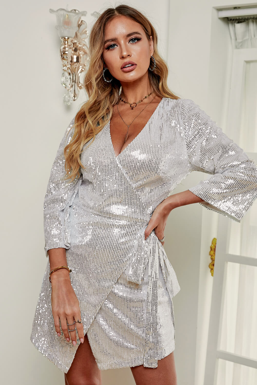 Silver Sequin Wrap Dress with Sash - JT's Designer Fashion