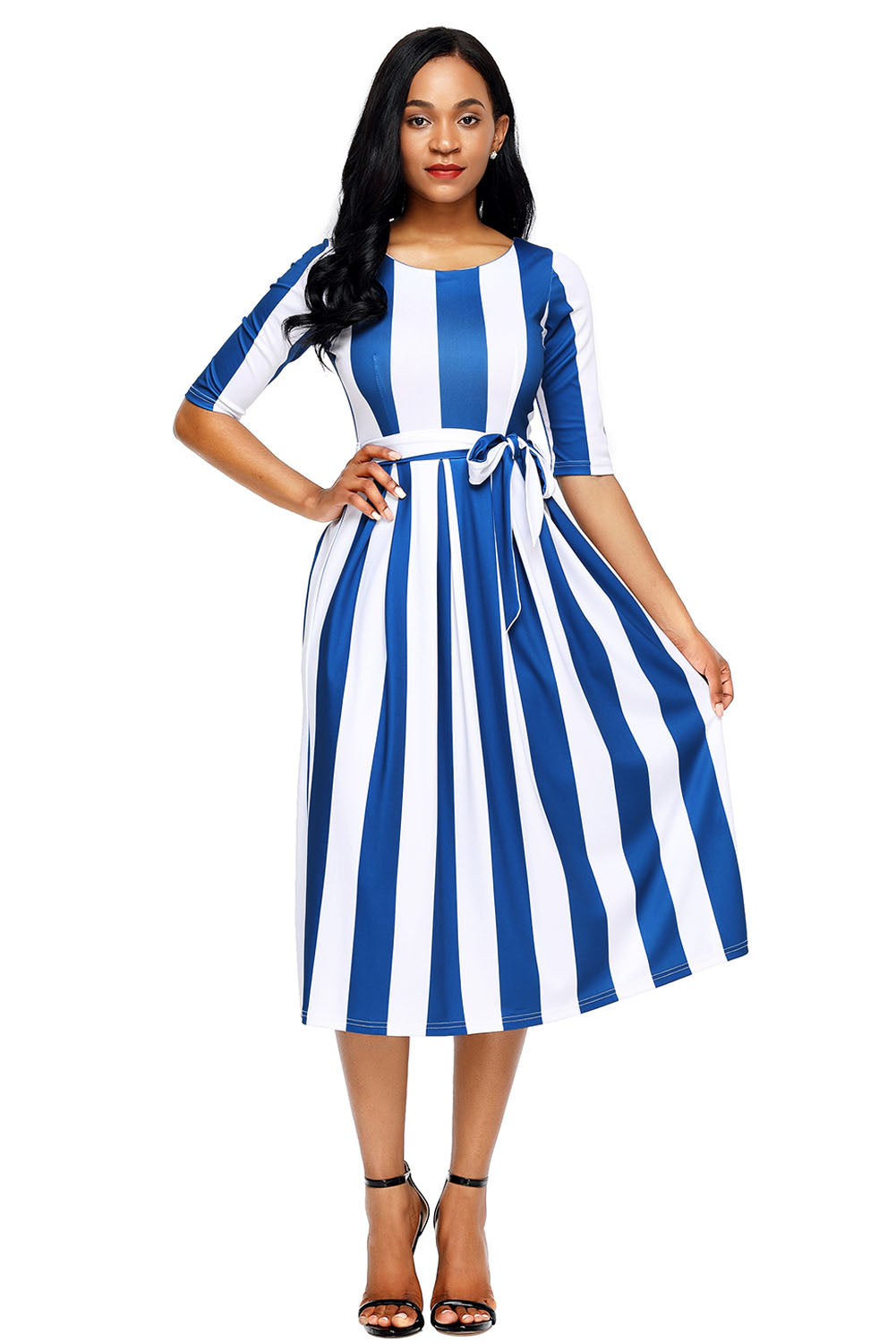 Blue Stripe Print Half Sleeve Belted Dress Maxi Dresses Discount Designer Fashion Clothes Shoes Bags Women Men Kids Children Black Owned Business