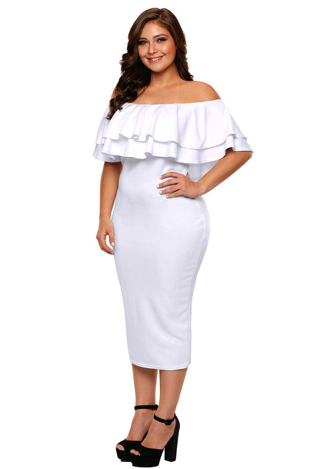 White Layered Ruffle Off Shoulder Curvaceous Dress Plus Size Dresses Discount Designer Fashion Clothes Shoes Bags Women Men Kids Children Black Owned Business