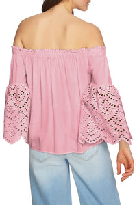 Pink Off The Shoulder Eyelet Sleeves Blouse Long Sleeve Tops Discount Designer Fashion Clothes Shoes Bags Women Men Kids Children Black Owned Business