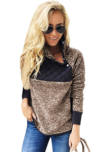 Coffee Fleece Asymmetrical Snap Pullover Sweatshirts & Hoodies Discount Designer Fashion Clothes Shoes Bags Women Men Kids Children Black Owned Business