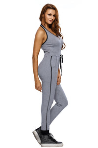 Grey Drawstring Waist V Neck Sleeveless Jumpsuit Jumpsuits & Rompers Discount Designer Fashion Clothes Shoes Bags Women Men Kids Children Black Owned Business
