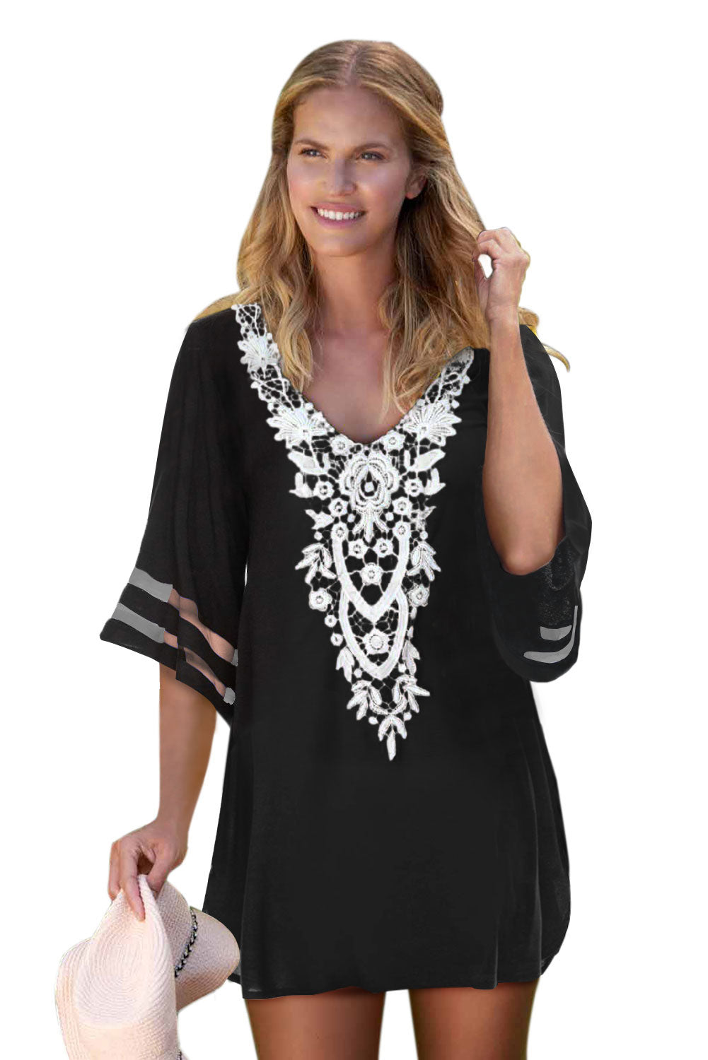 Black Crochet Detail Mesh Sleeve Chiffon Beach Cover Up Beach Dresses Discount Designer Fashion Clothes Shoes Bags Women Men Kids Children Black Owned Business