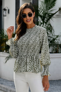 Green High Neck Boho Floral Blouse Blouses & Shirts Discount Designer Fashion Clothes Shoes Bags Women Men Kids Children Black Owned Business