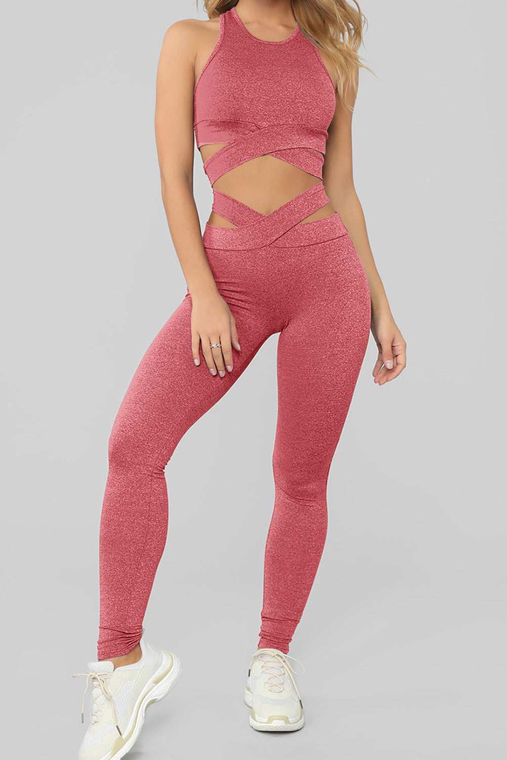 Pink Crisscross Sports Bra and Leggings Set Sports Wear Discount Designer Fashion Clothes Shoes Bags Women Men Kids Children Black Owned Business
