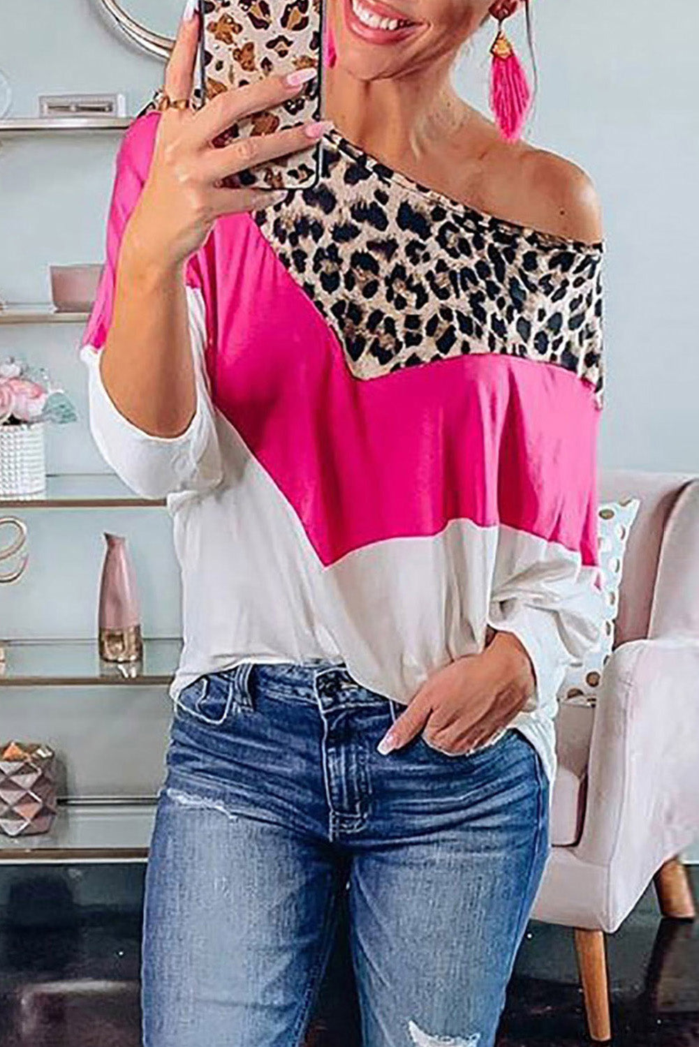 Leopard Rose White Splicing Blouse Blouses & Shirts Discount Designer Fashion Clothes Shoes Bags Women Men Kids Children Black Owned Business