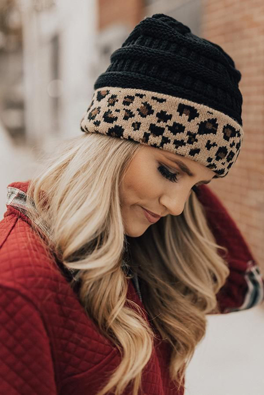 Black Knitted Leopard Beanie Others Discount Designer Fashion Clothes Shoes Bags Women Men Kids Children Black Owned Business