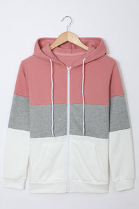Pink Zip Front Color Block Splicing Drawstring Hoodie Sweatshirts & Hoodies Discount Designer Fashion Clothes Shoes Bags Women Men Kids Children Black Owned Business