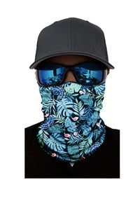 Green Tropical Print Face Mask and Neck Warmer with Sun UV Protection Neck Gaiter Discount Designer Fashion Clothes Shoes Bags Women Men Kids Children Black Owned Business