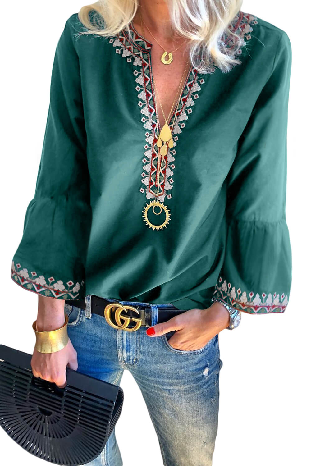 Green Boho Floral V Neck Long Sleeve Casual Top Long Sleeve Tops Discount Designer Fashion Clothes Shoes Bags Women Men Kids Children Black Owned Business