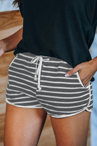 Dark Gray Disconnect Striped Cotton Blend Pocketed Shorts Pants & Culotte Discount Designer Fashion Clothes Shoes Bags Women Men Kids Children Black Owned Business