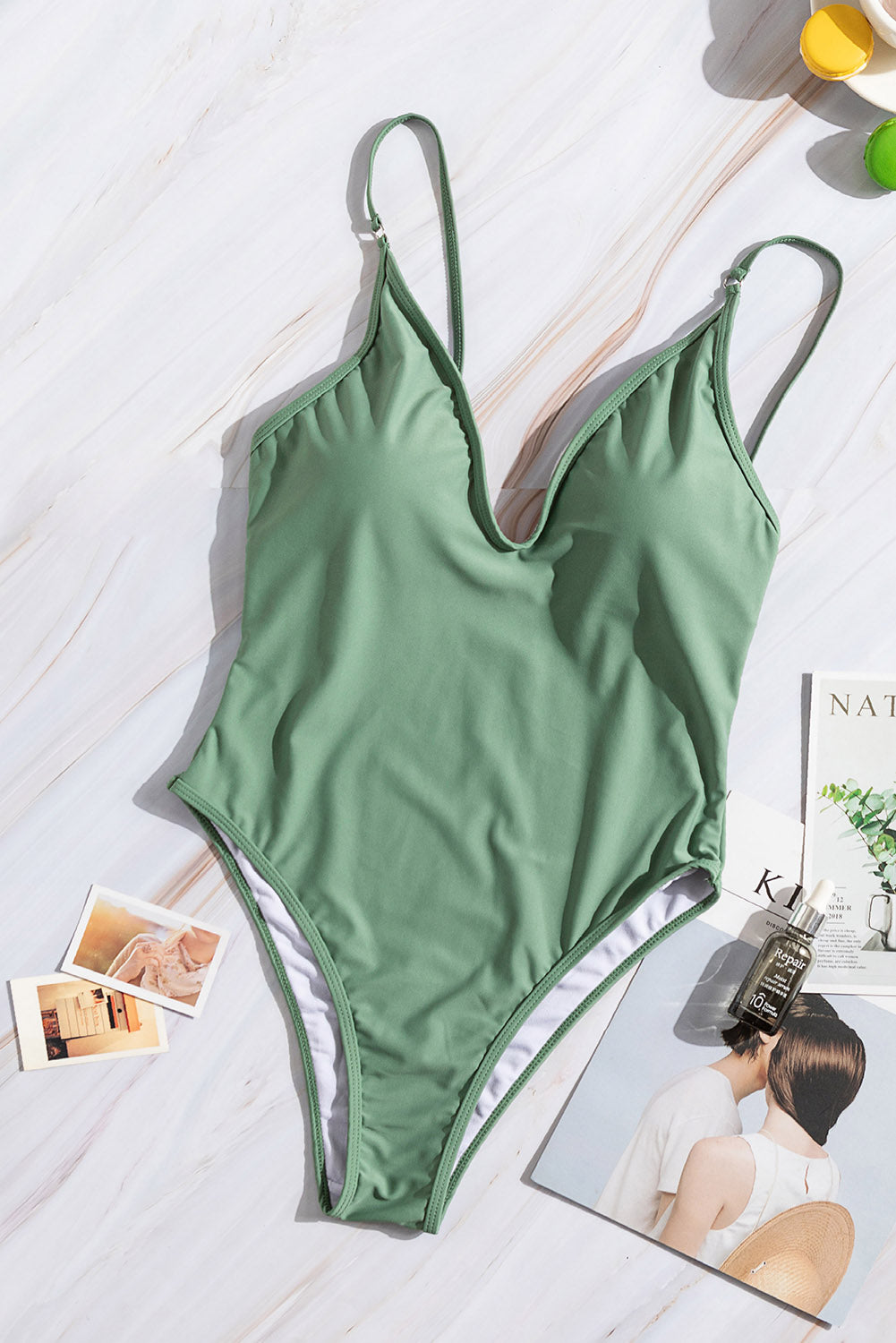 Green V Neck One Piece Swimsuit One-Piece Swimwear Discount Designer Fashion Clothes Shoes Bags Women Men Kids Children Black Owned Business