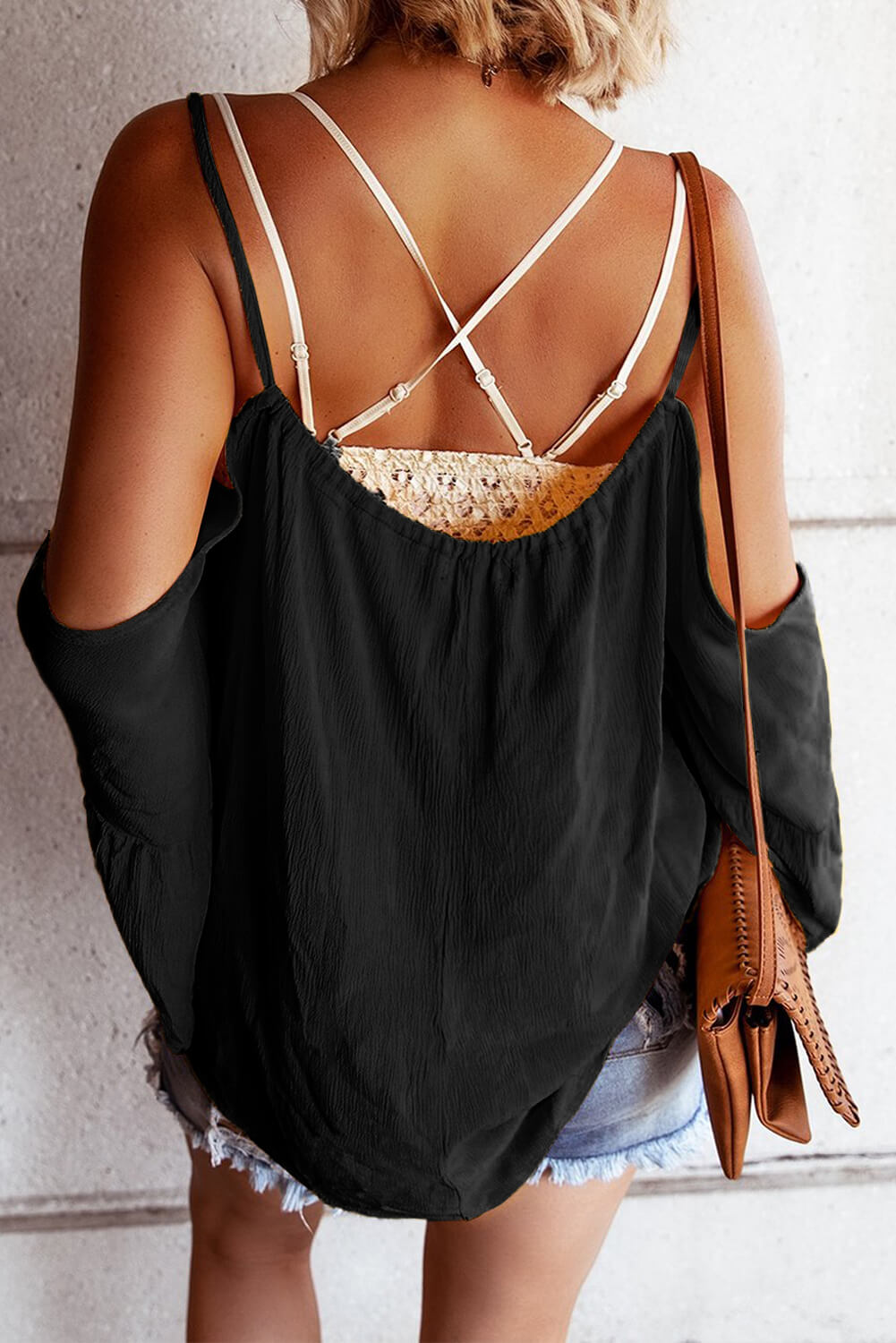 Black Flare Sleeve Spaghetti Strap Cold Shoulder Ruffled Blouse Blouses & Shirts Discount Designer Fashion Clothes Shoes Bags Women Men Kids Children Black Owned Business