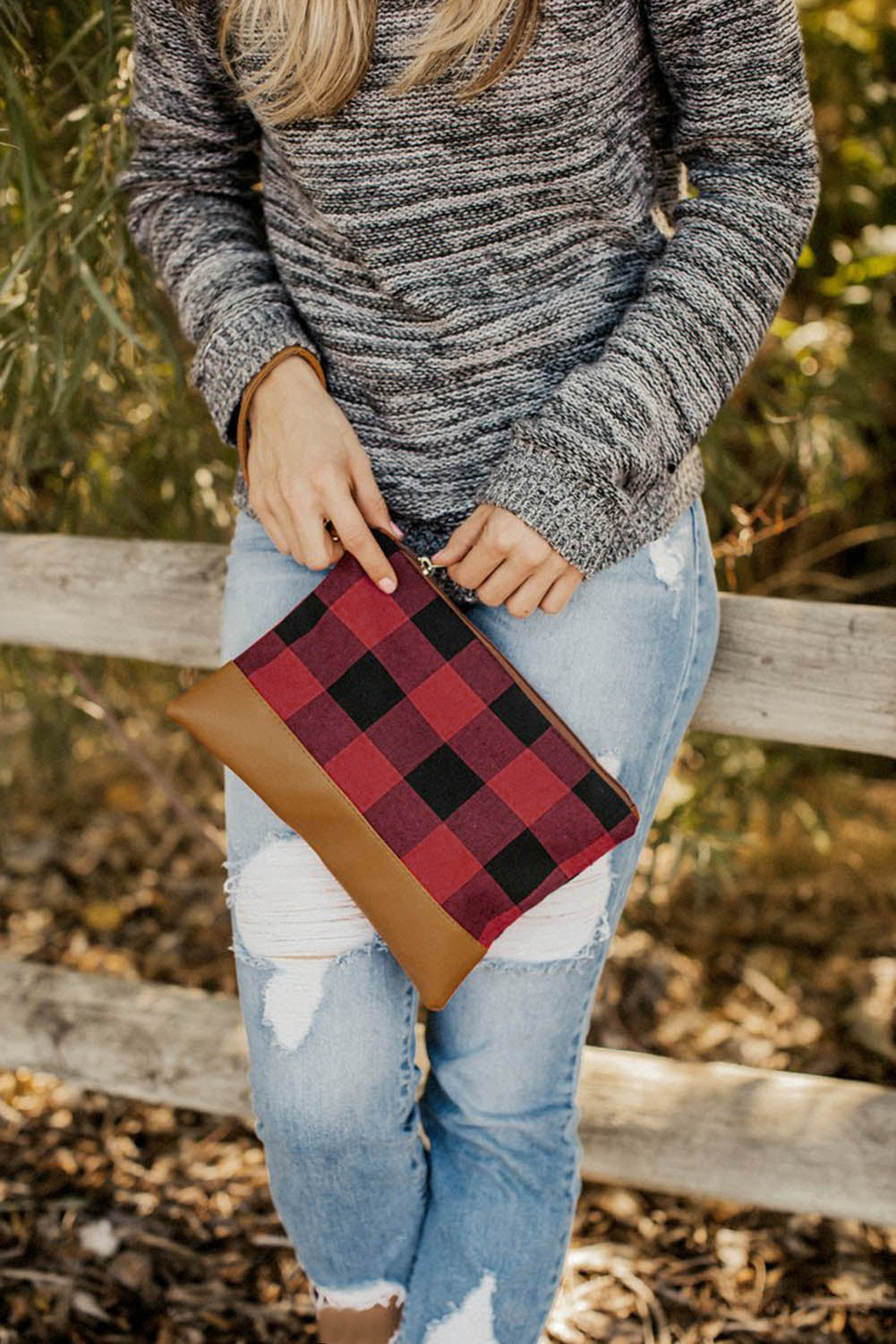 Red Plaid Print Clutch with PU Accent Bags Discount Designer Fashion Clothes Shoes Bags Women Men Kids Children Black Owned Business