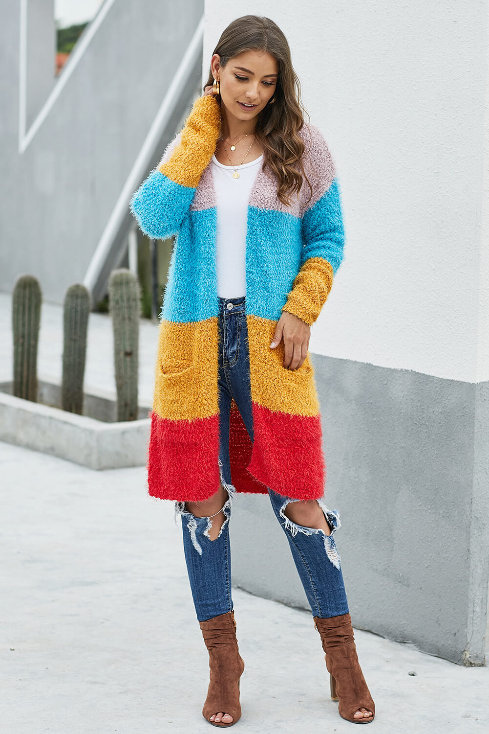 Multicolor Color Block Drape Oversized Knitted Cardigan Sweaters & Cardigans Discount Designer Fashion Clothes Shoes Bags Women Men Kids Children Black Owned Business