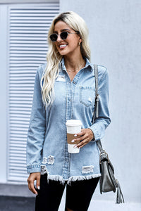 Fade Blue Ripped Denim Jacket Suits & Coats Discount Designer Fashion Clothes Shoes Bags Women Men Kids Children Black Owned Business
