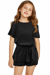 Black Keyhole Back Belted Peplum Girls Romper Girls Rompers Discount Designer Fashion Clothes Shoes Bags Women Men Kids Children Black Owned Business