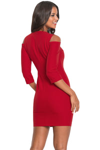Red Cold Shoulder Sleeved Bodycon Mini Dress - JT's Designer Fashion