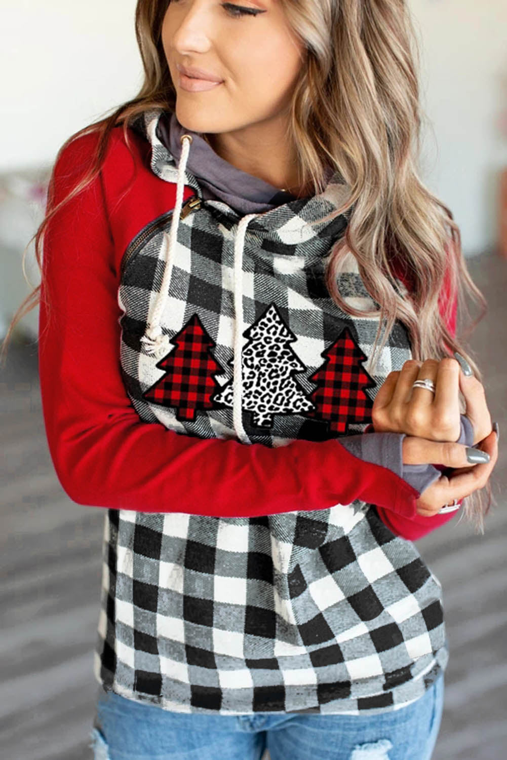 Christmas Tree Plaid Pattern Asymmetric Zip Hoodie Sweatshirts & Hoodies Discount Designer Fashion Clothes Shoes Bags Women Men Kids Children Black Owned Business