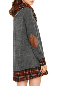 Charcoal Plaid Elbow Patch Cowl Neck Dress - JT's Designer Fashion