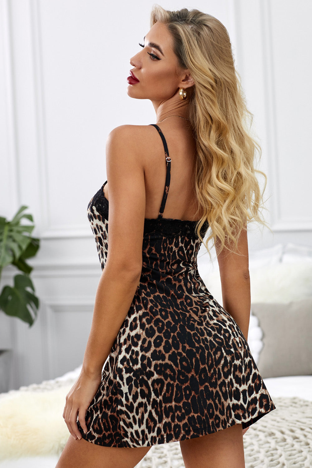 Leopard Print Lace Spaghetti Strap Chemise Babydoll & Chemise Discount Designer Fashion Clothes Shoes Bags Women Men Kids Children Black Owned Business