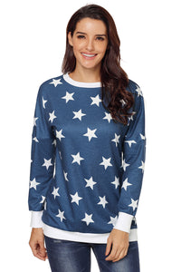 Navy All Over Star Sweatshirt Sweatshirts & Hoodies Discount Designer Fashion Clothes Shoes Bags Women Men Kids Children Black Owned Business