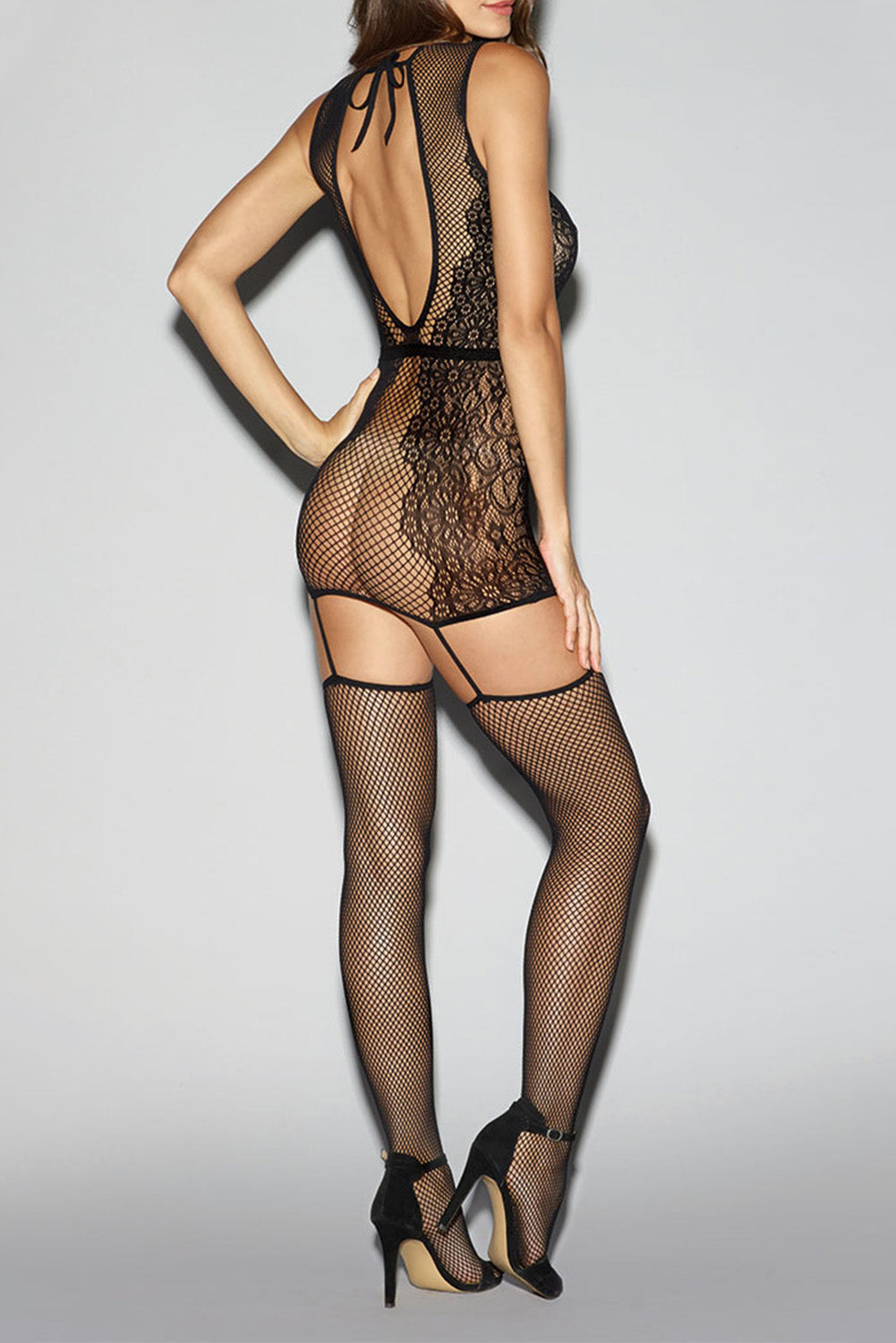 Black Lace Keyhole Hollow-out Fishnet Bodystocking Body Stockings Discount Designer Fashion Clothes Shoes Bags Women Men Kids Children Black Owned Business