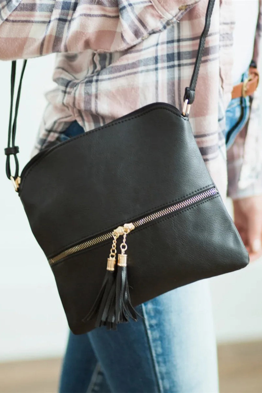 Black Crossbody Bag with Tassel Bags Discount Designer Fashion Clothes Shoes Bags Women Men Kids Children Black Owned Business
