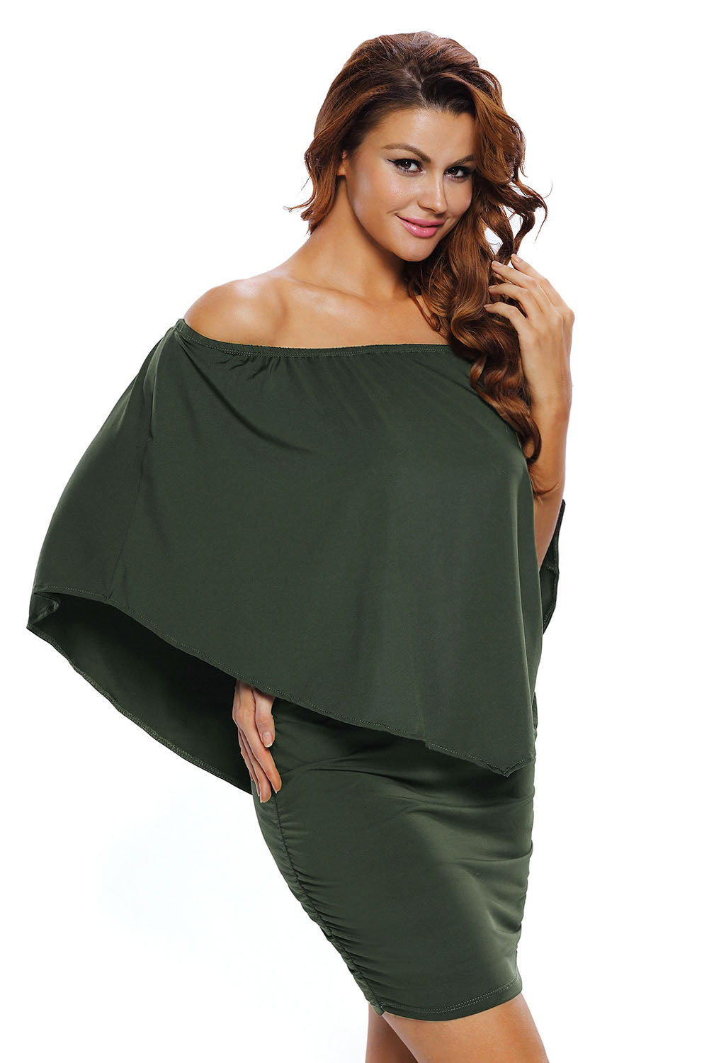 Multiple Dressing Layered Army Green Mini Poncho Dress - JT's Designer Fashion
