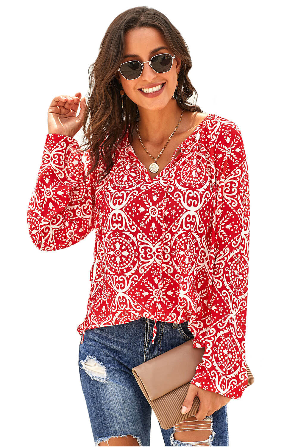 Red Long Sleeve V Neck Printed Chiffon Blouse Long Sleeve Tops Discount Designer Fashion Clothes Shoes Bags Women Men Kids Children Black Owned Business