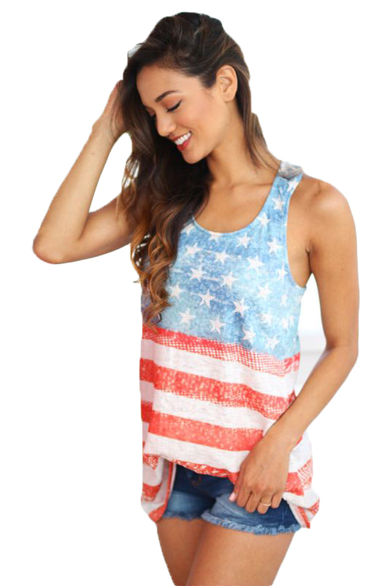 Light Blue American Flag Vintage Tank