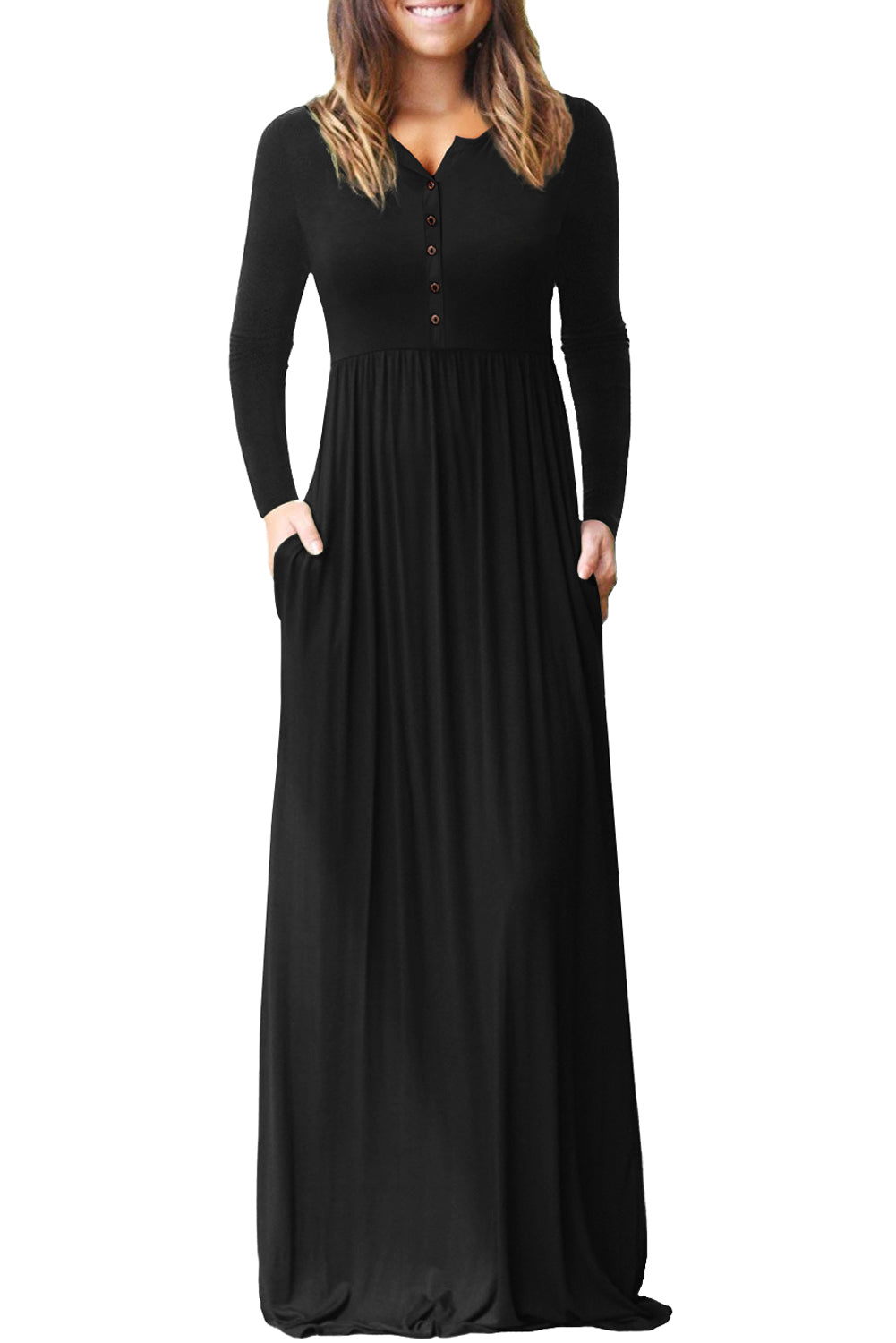 Black Long Sleeve Button Down Casual Maxi Dress Maxi Dresses Discount Designer Fashion Clothes Shoes Bags Women Men Kids Children Black Owned Business