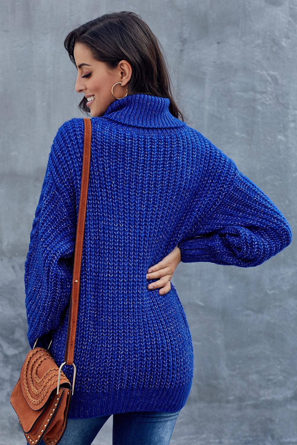 Blue Chunky Turtleneck Sweater Sweaters & Cardigans Discount Designer Fashion Clothes Shoes Bags Women Men Kids Children Black Owned Business