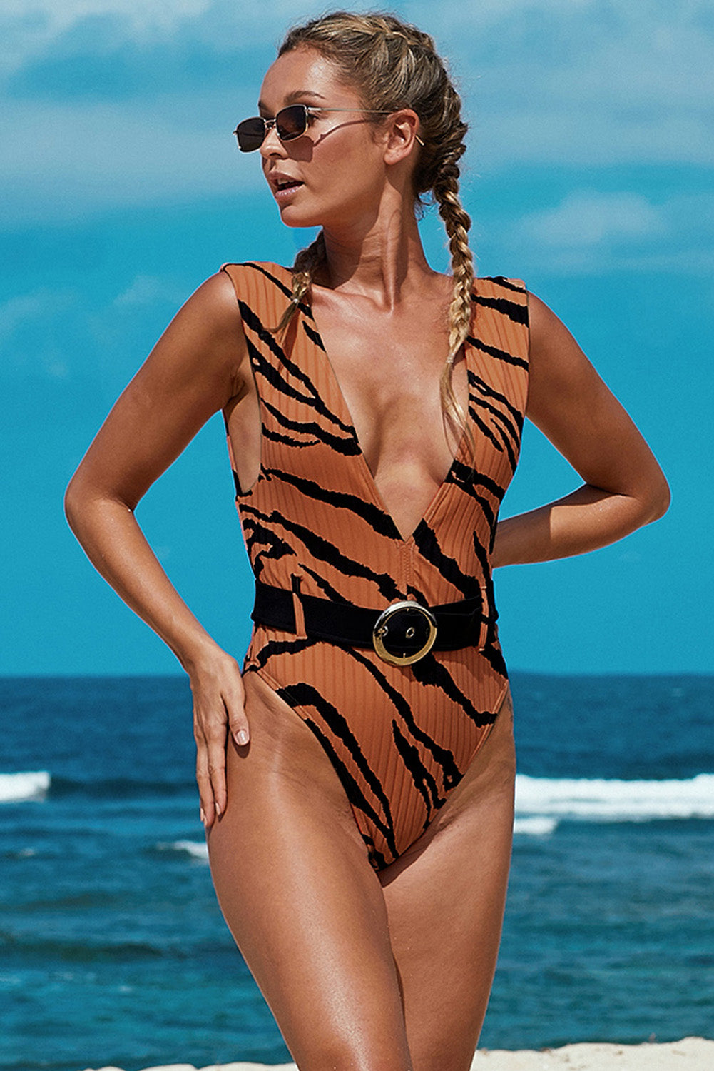 Brown Animal Print Belted One-piece Swimwear One-Piece Swimwear Discount Designer Fashion Clothes Shoes Bags Women Men Kids Children Black Owned Business