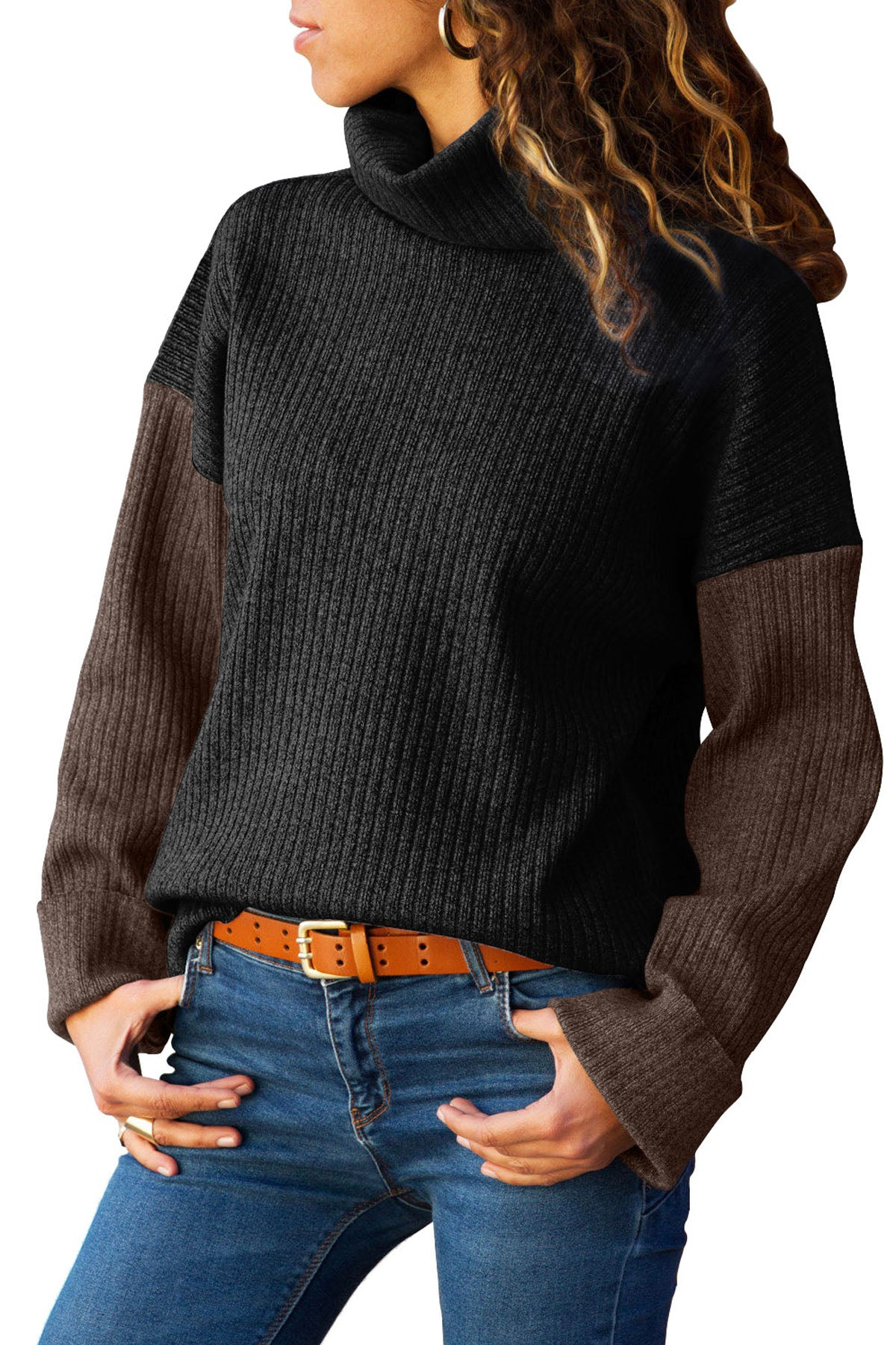 Black Brown Color Patchwork Ribbed High Neck Sweater Sweaters & Cardigans Discount Designer Fashion Clothes Shoes Bags Women Men Kids Children Black Owned Business