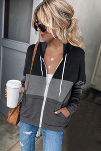 Black Zip Front Color Block Splicing Drawstring Hoodie Sweatshirts & Hoodies Discount Designer Fashion Clothes Shoes Bags Women Men Kids Children Black Owned Business