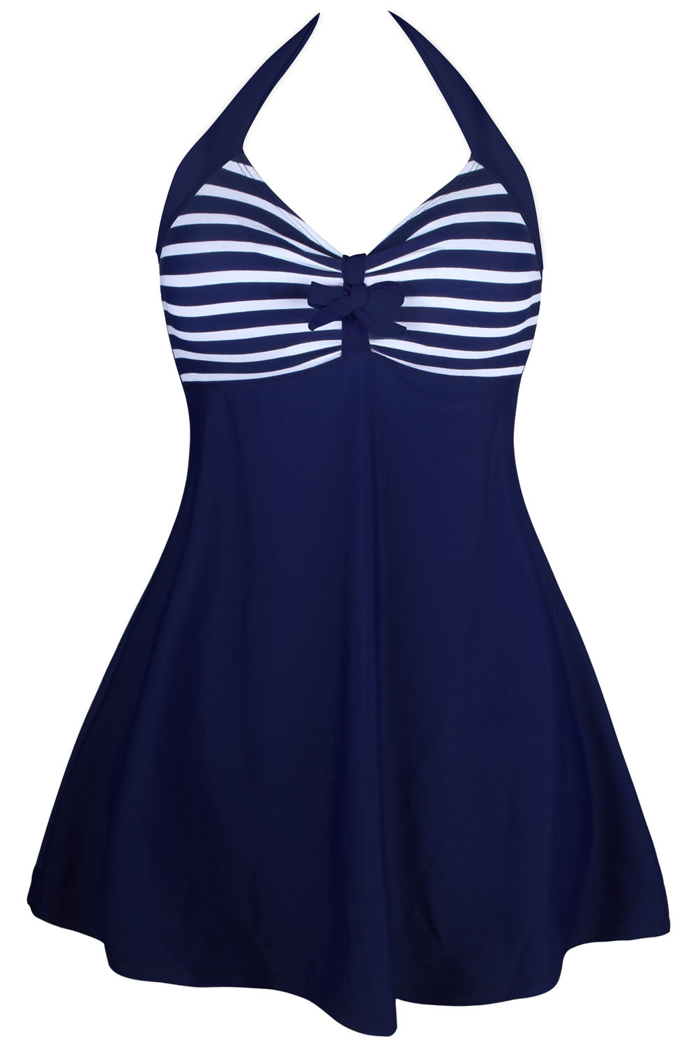 Navy White Stripes One-piece Swimdress One-Piece Swimwear