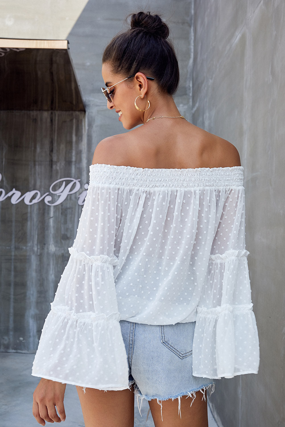White Swiss Dot Off The Shoulder Top Long Sleeve Tops Discount Designer Fashion Clothes Shoes Bags Women Men Kids Children Black Owned Business