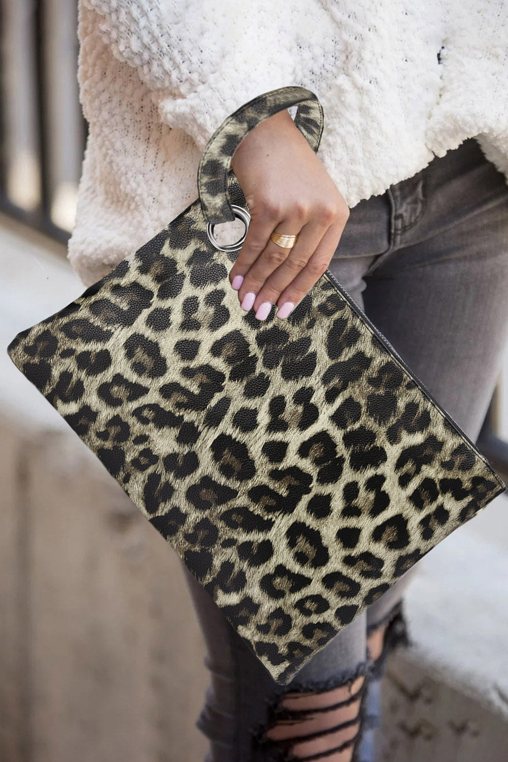 Khaki Trendy Leopard Clutch Bags Discount Designer Fashion Clothes Shoes Bags Women Men Kids Children Black Owned Business