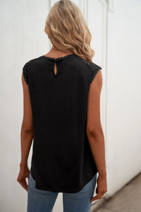 Black Sleeveless Top with Lace Detail Tank Tops Discount Designer Fashion Clothes Shoes Bags Women Men Kids Children Black Owned Business