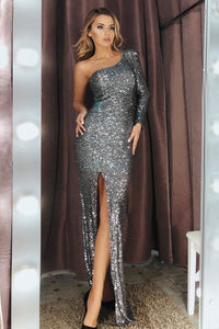 Silver Fortune One Shoulder Front Slit Sequin Gown Evening Dresses Discount Designer Fashion Clothes Shoes Bags Women Men Kids Children Black Owned Business