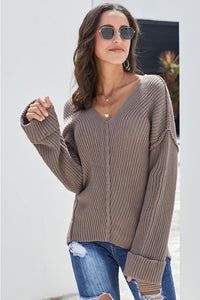 Brown Textured V Neck Pullover Sweater Sweaters & Cardigans Discount Designer Fashion Clothes Shoes Bags Women Men Kids Children Black Owned Business
