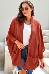 Orange Patch Pockets Batwing Sleeve Cardigan