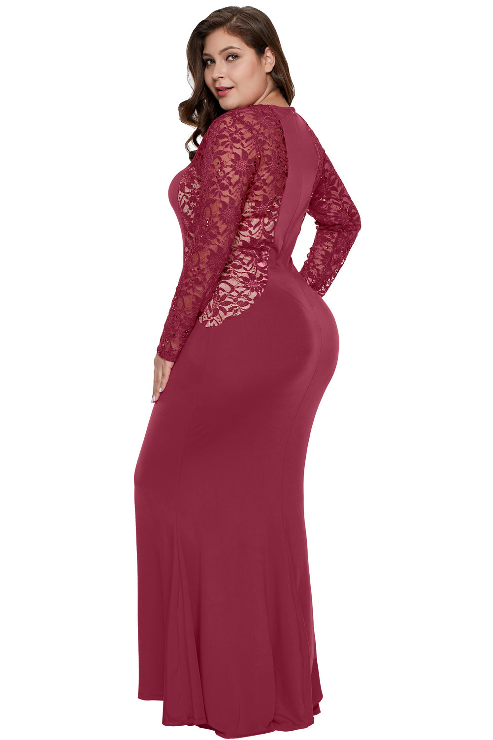 Red Lace and Knit Plus Size A-line Gown Plus Size Dresses Discount Designer Fashion Clothes Shoes Bags Women Men Kids Children Black Owned Business