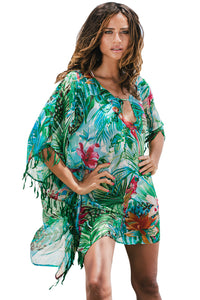 Green Bohemian Print Leaf Fringed Beach Tunic Beach Dresses Discount Designer Fashion Clothes Shoes Bags Women Men Kids Children Black Owned Business